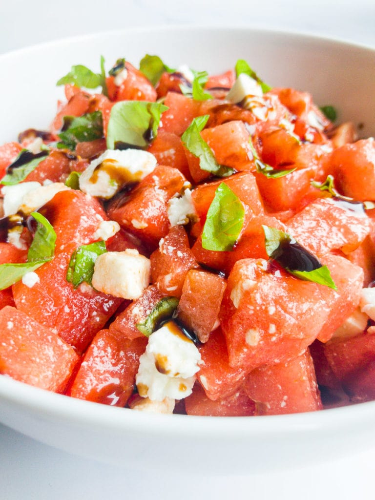 watermelon feta salad in a bowl