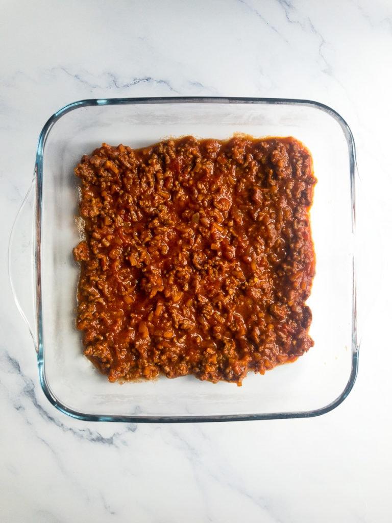 bolognese in a casserole dish