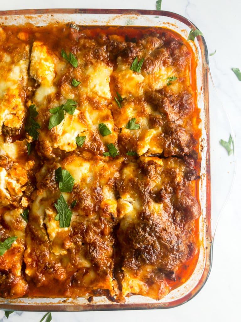 zucchini lasagna cut into pieces