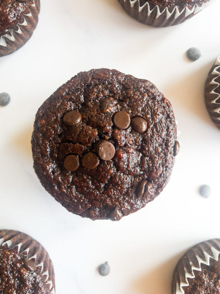 double chocolate banana oatmeal muffins on a table
