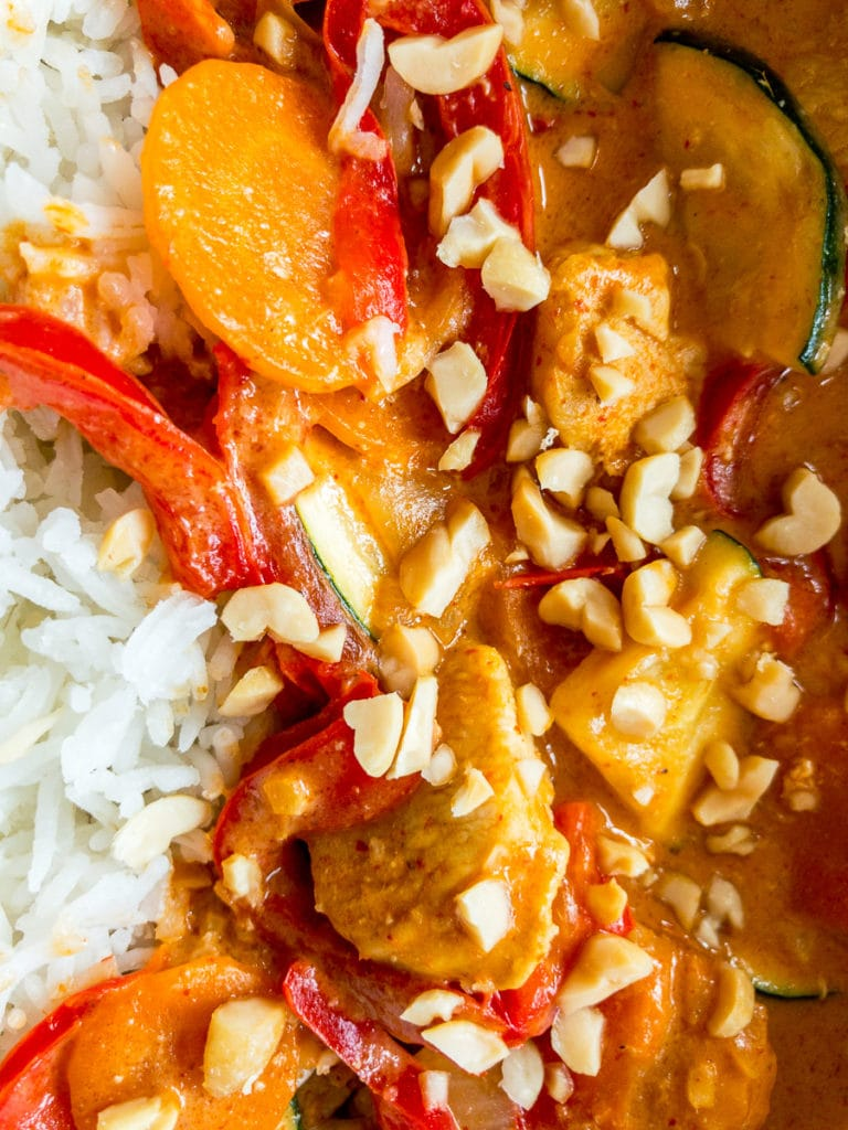 thai peanut curry with chicken and rice