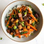 veggie tofu stir fry in a bowl