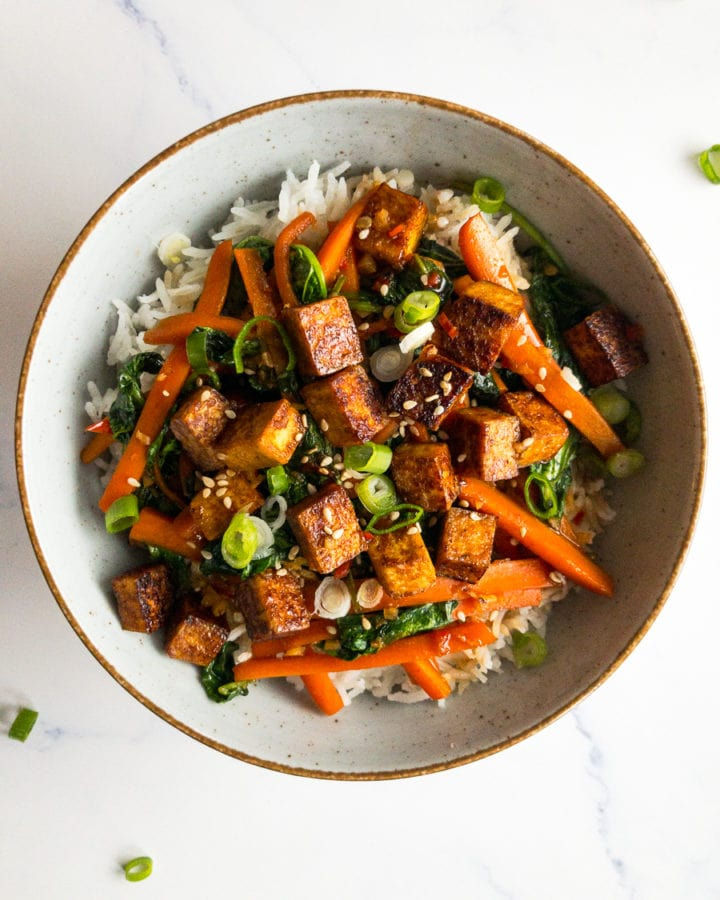 veggie tofu stir fry in a bowl