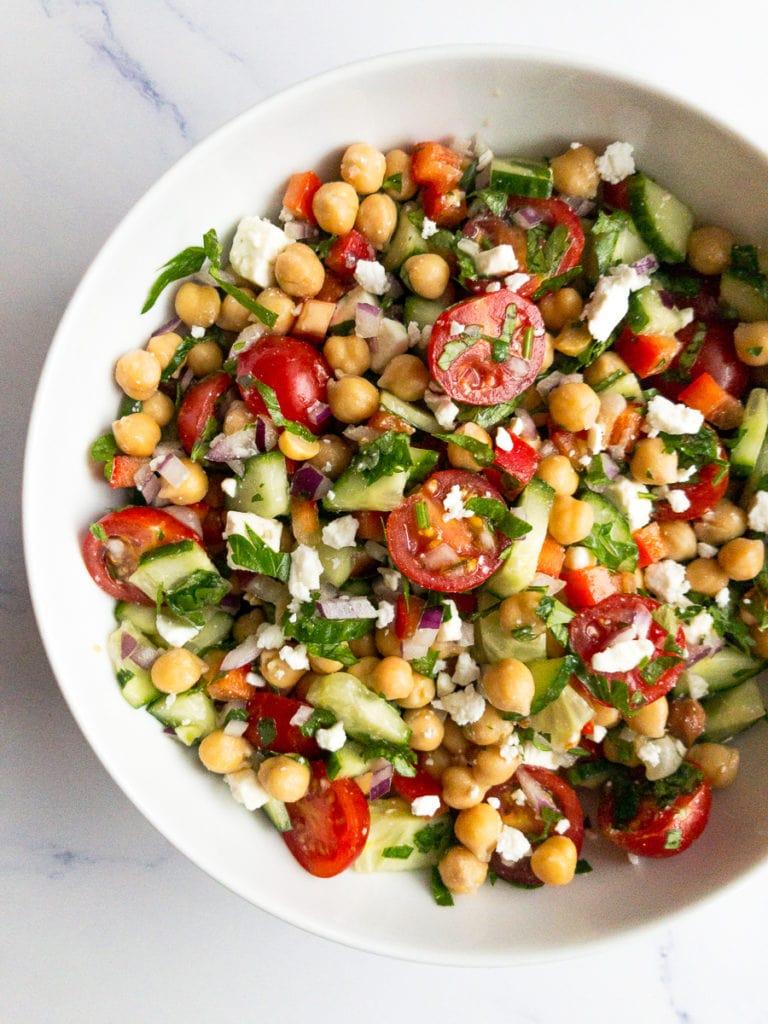 mediterranean chickpea salad in a bowl