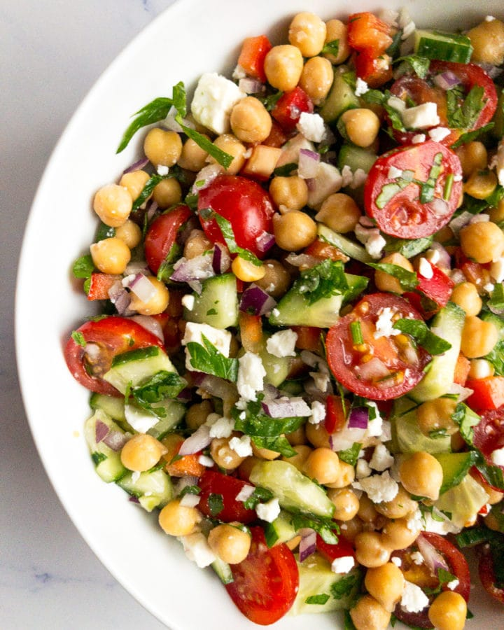 mediterranean chickpea salad in a white bowl