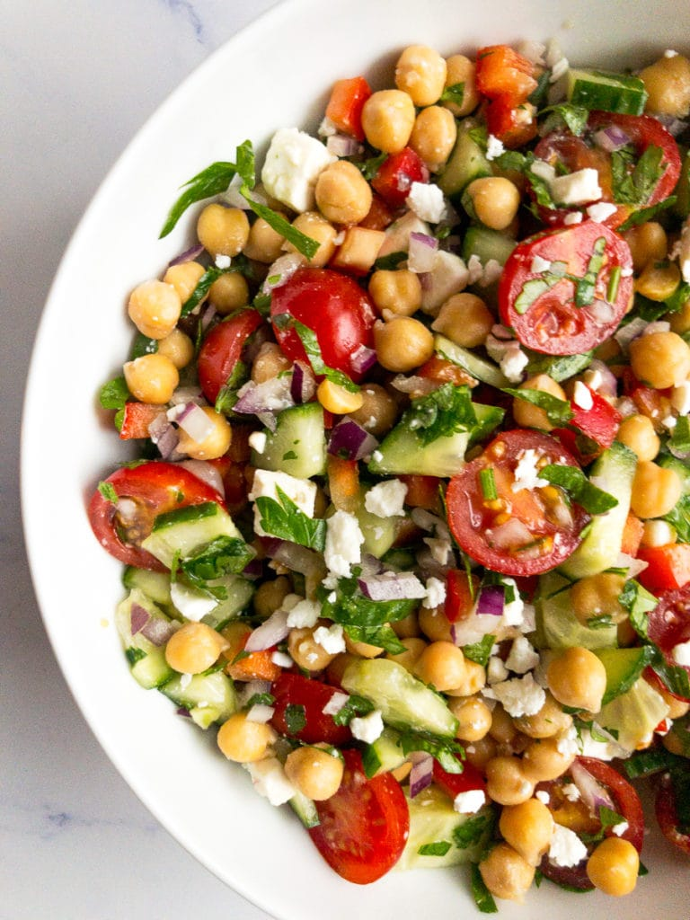 mediterranean chickpea salad in a white bowl