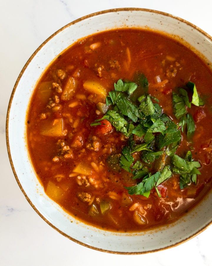 stuffed pepper soup in a bowl