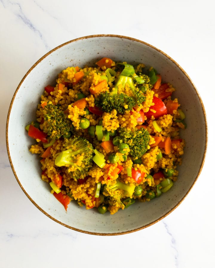 curried vegetable couscous in a bowl