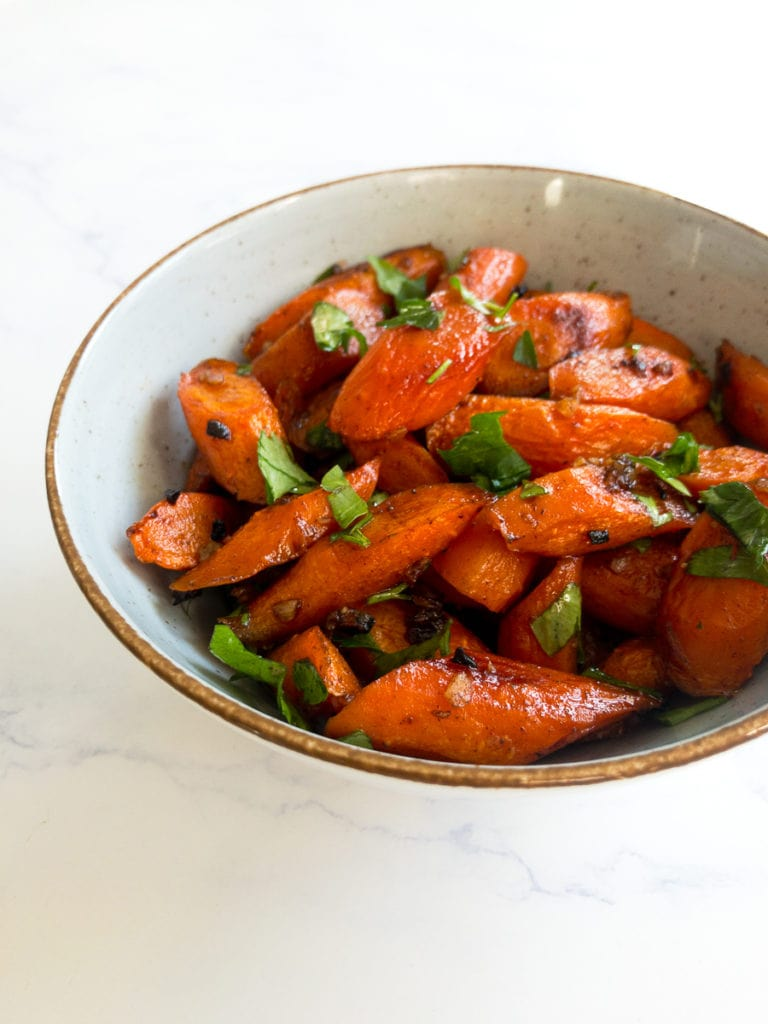 roasted honey glazed carrots in a bowl