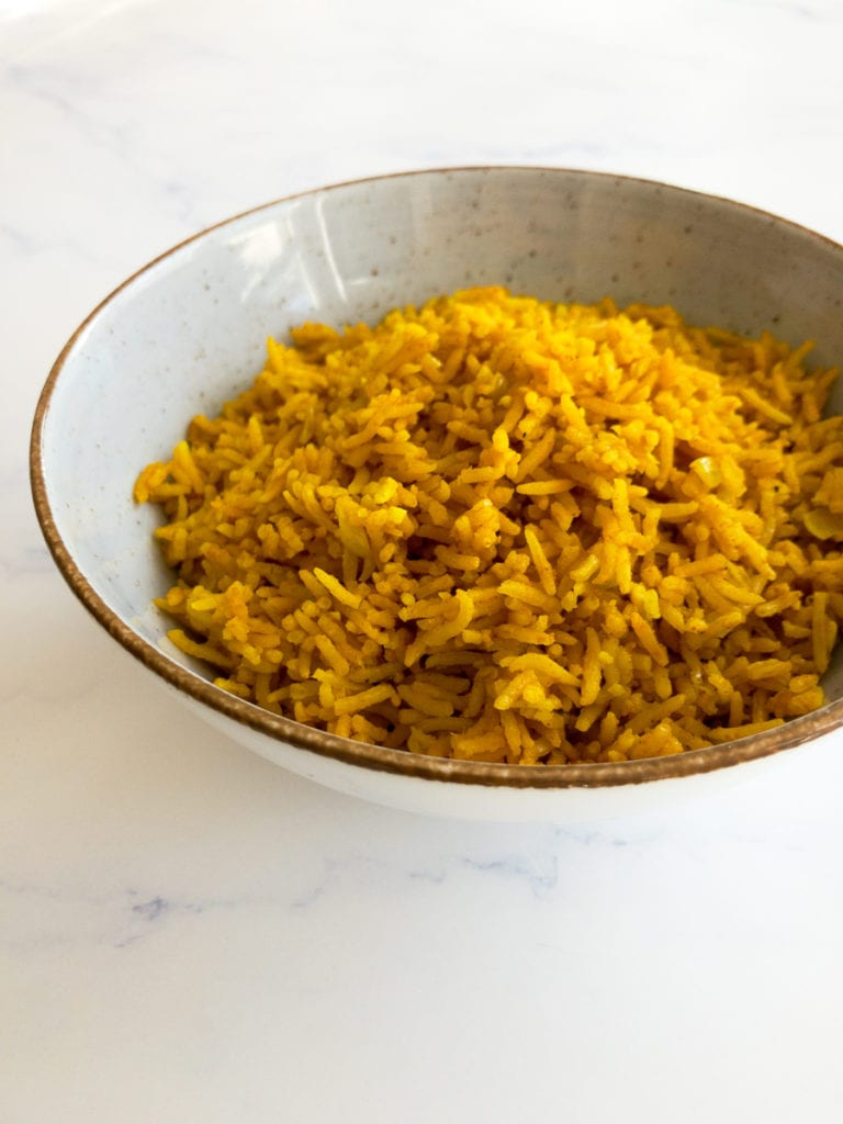turmeric rice in a bowl