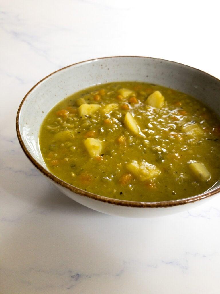 vegan split pea soup in a bowl