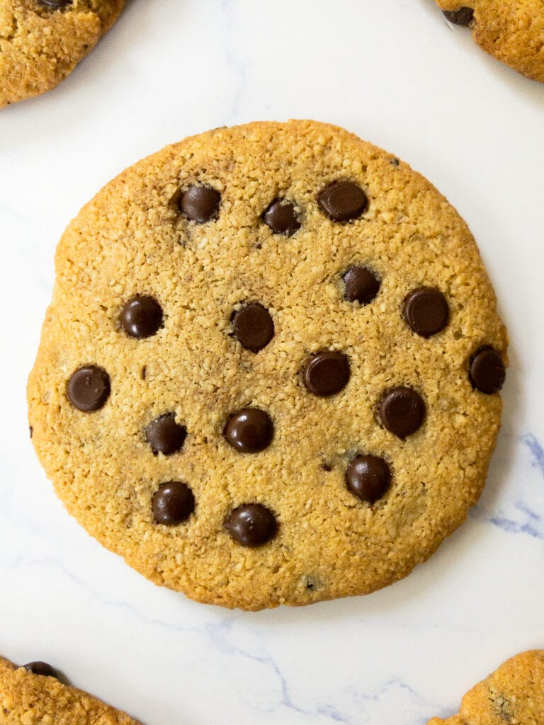 one almond flour chocolate chip cookie on a table